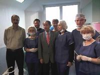 Слева  проф. Бочоришвили Р.Г., в центре - основатель   Международного Центра эндоскопической хируругии (CICE) проф. Maurice Antoine Bruhat.